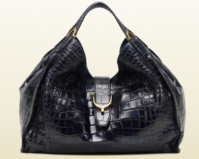 Gucci Soft Stirrup Crocodile Shoulder Bag