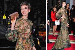 Anne Hathaway carries a gorgeous Roger Vivier clutch to the New York City Ballet Fall Gala