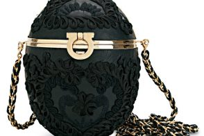 The Salvatore Ferragamo Black Embroidered Egg Clutch