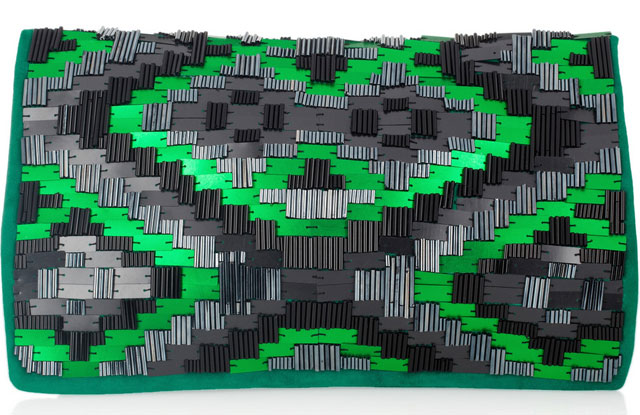 Matthew Williamson Bead Embellished Suede Clutch