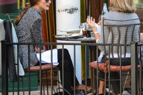 Olivia Palermo brunches with her Birkin on the ground