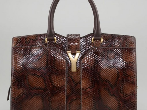 Yves Saint Laurent ChYc Medium Python Tote Bag