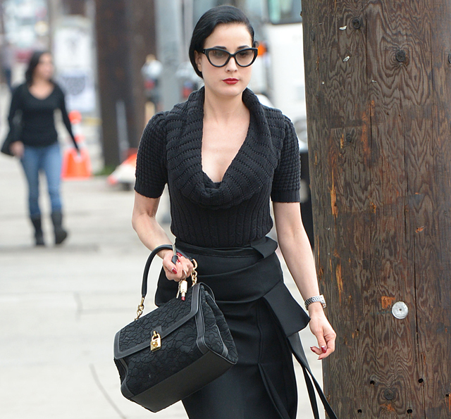 Dita Von Teese has lunch at Real Food Daily in West Hollwyood
