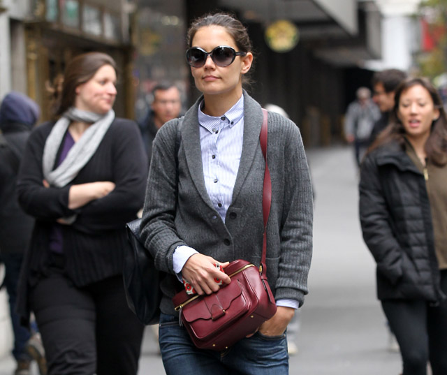 Actress Katie Holmes walks to rehearsal for her upcoming play Dead Accounts at Music Box Theatre in New York City