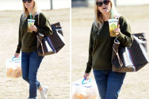 Reese Witherspoon carries orange wedges and Louis Vuitton at her son's soccer game