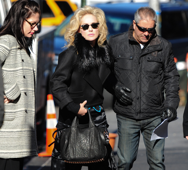 Sharon Stone on set of Fading Gigolo in NYC
