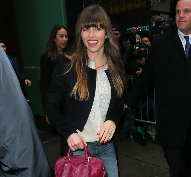 Jessica Biel is all smiles when exiting Good Morning America in NYC