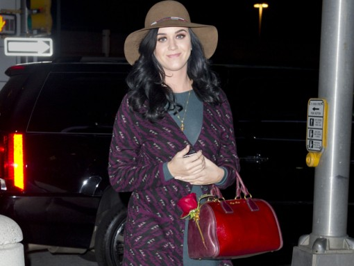 Katy Perry matches a red rose to her red Miu Miu bag