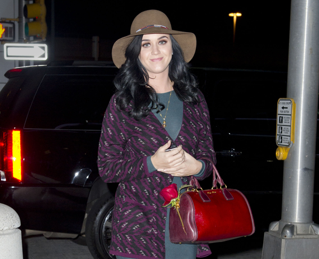 Katy Perry arrives to catch a flight at JFK airport in NYC
