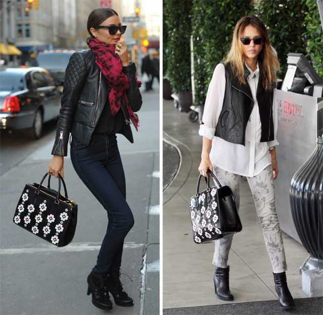 Miranda Kerr and Jessica Alba carry Prada