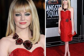 "Emma Stone stuns carrying red Lanvin at ""Gangster Squad"" premiere"