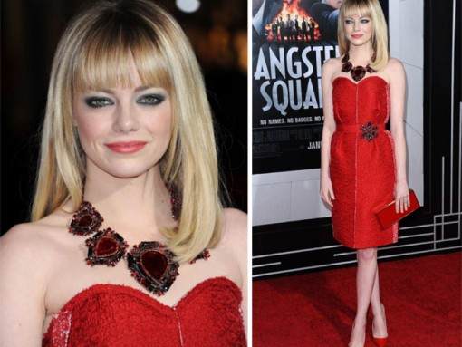 """Emma Stone stuns carrying red Lanvin at """"Gangster Squad"""" premiere"""
