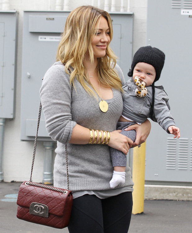 Hilary Duff Chanel Flap Burgundy