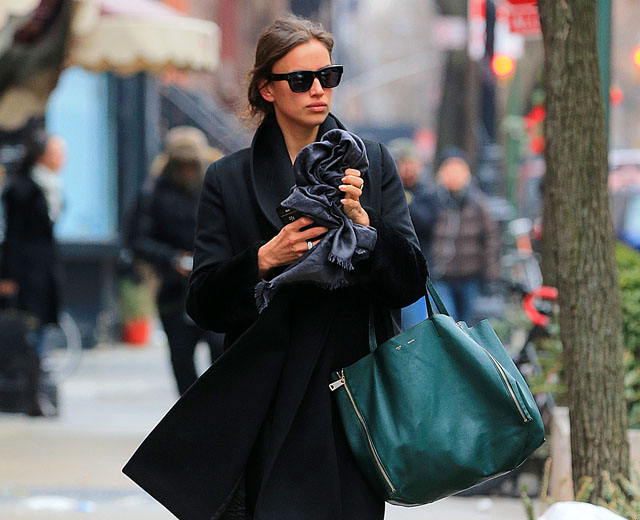 irina shayk carries a simple celine tote in new york