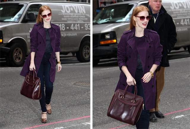 Jessica Chastain carries an Alexander McQueen Heroine Satchel