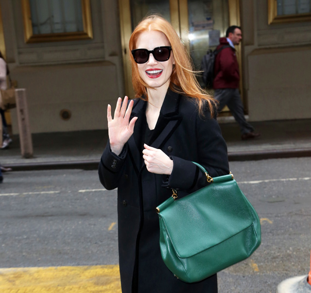 4d0a73670d65 Jessica Chastain adds Dolce   Gabbana to her growing bag collection ...