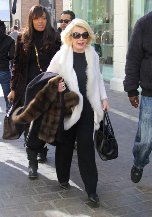 1e640b187c4e Joan Rivers carries a Chanel Cerf Tote to hang out on the set of ...