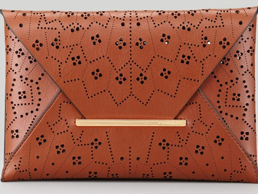 BCBG MAXAZRIA Harlow Laser-Cut Envelope Clutch Bag