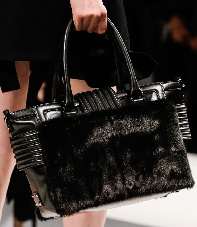 Blumarine Fall 2013 Black Fur Tote