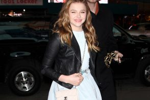 Chloe Moretz attends her Sweet 16 party with a Chanel Mini Classic Flap