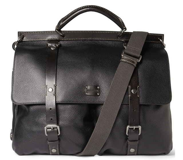 Dolce and Gabbana Full-Grain Leather Messenger