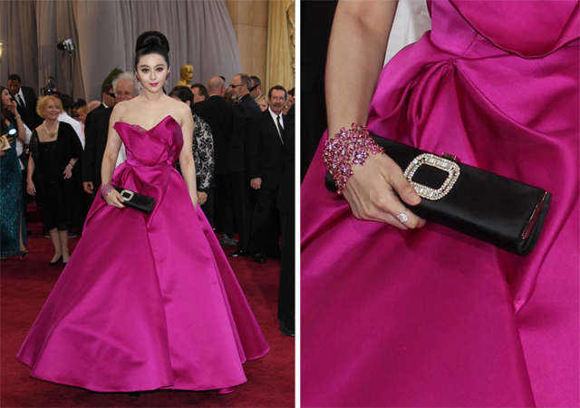 Fan Bingbing carries a Roger Vivier clutch to the 2013 Academy Awards