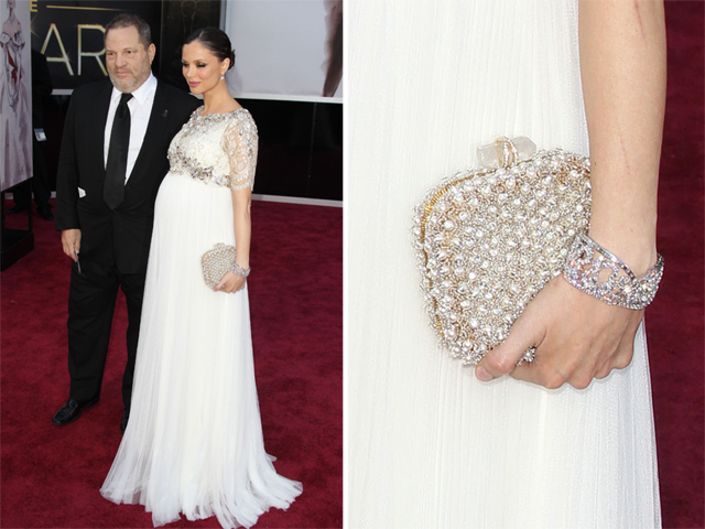 Georgina Chapman carries a Marchesa clutch at the 2013 Academy Awards
