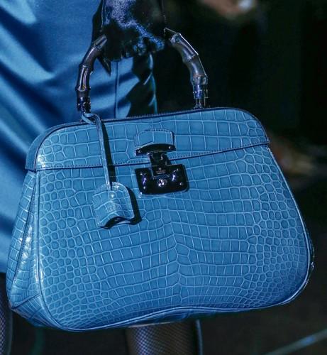 f11de2bed25b Gucci Fall 2013 Blue Crocodile Bamboo Top Handle Bag - PurseBlog