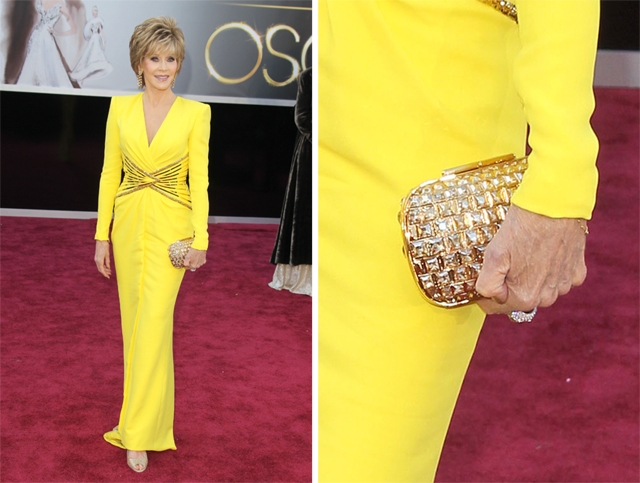 Jane Fonda carries a Jimmy Choo clutch to the 2013 Academy Awards