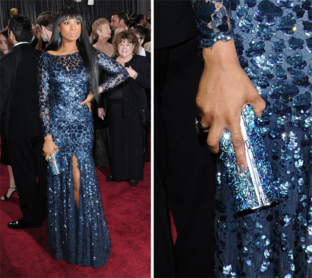 Jennifer Hudson carries a Jimmy Choo clutch at the 2013 Academy Awards
