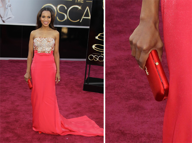 Kerry Washington carries a Prada clutch to the 2013 Academy Awards