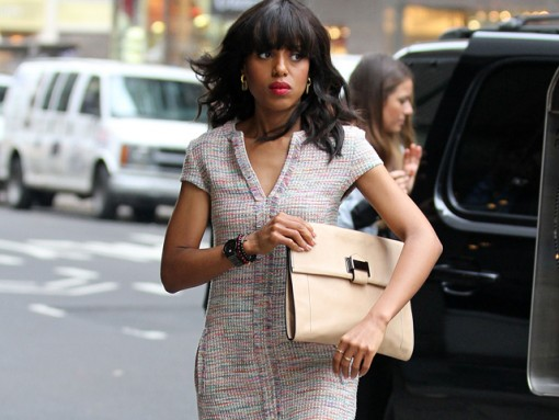 Kerry Washington looks put together with a Reed Krakoff clutch
