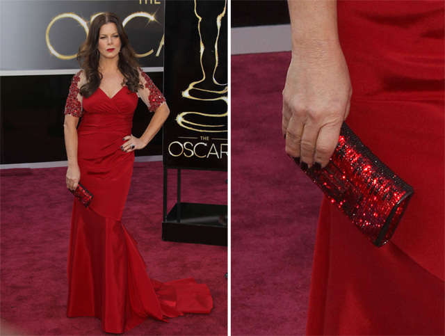 Marcia Gay Harden carries a Swarovski Clutch to the 2013 Academy Awards