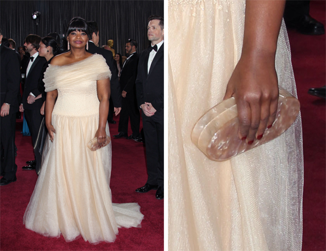 Octavia Spencer carries an Edie Parker clutch to the 2013 Academy Awards