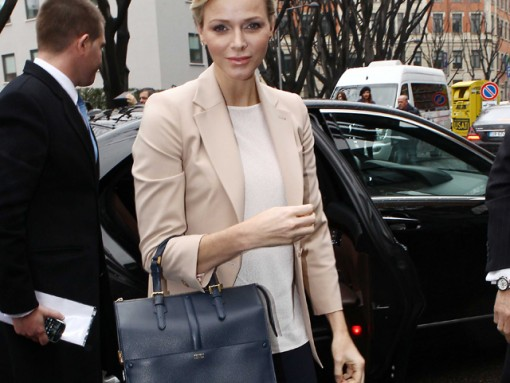 Princess Charlene of Monaco carries an Armani bag at Milan Fashion Week (1)