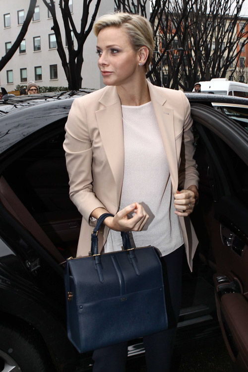 Princess Charlene of Monaco carries an Armani bag at Milan Fashion Week (2)