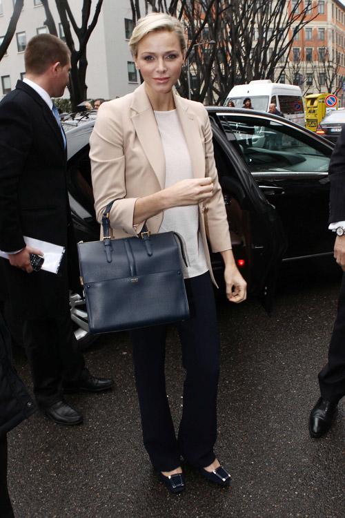 Princess Charlene of Monaco carries an Armani bag at Milan Fashion Week (3)