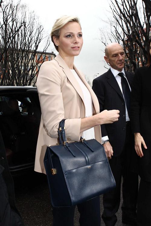 Princess Charlene of Monaco carries an Armani bag at Milan Fashion Week (4)