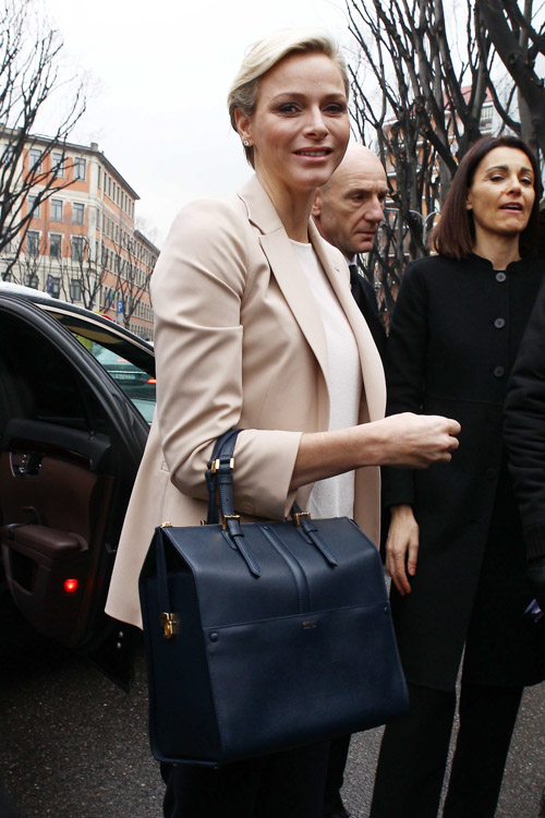 Princess Charlene of Monaco carries an Armani bag at Milan Fashion Week (5)