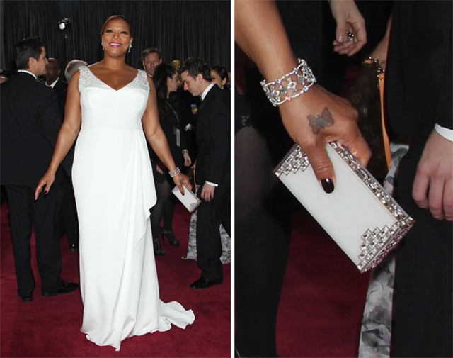 Queen Latifah carries a Judith Leiber Clutch at the 2013 Academy Awards
