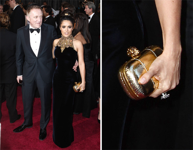 Salma Hayek carries an Alexander McQueen Clutch to the 2013 Academy Awards