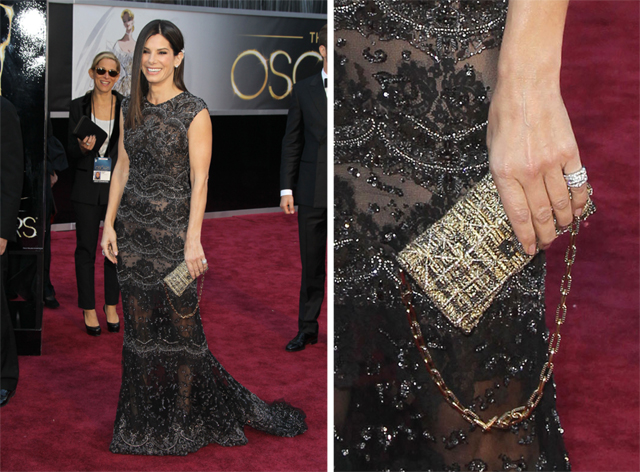 Sandra Bullock carries a Swarovski clutch to the 2013 Academy Awards