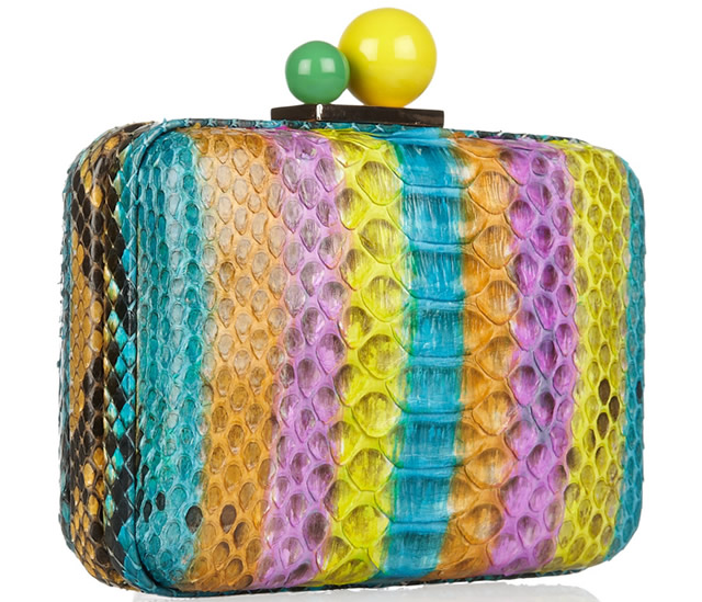 Sophia Webster Azealia Striped Python Clutch
