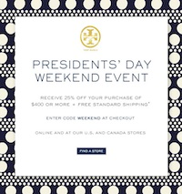 Tory Burch Discount Code Tory Burch Presidents Day Weekend