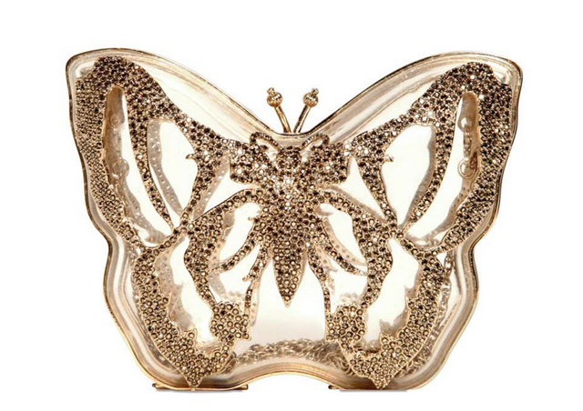 Valentino Jewel Plexiglass Butterfly Clutch