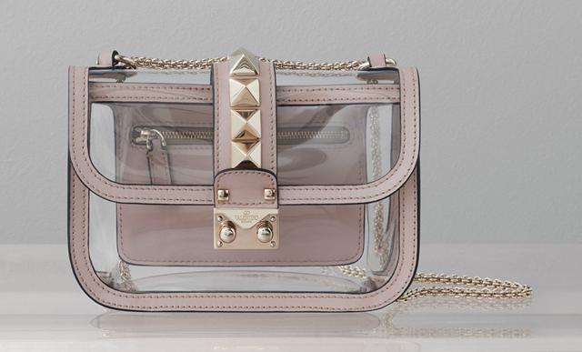 Valentino Rockstud Naked Glam Lock Shoulder Bag