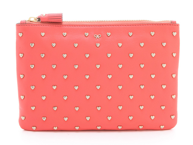 Anya Hindmarch Studded Heart Zip Clutch