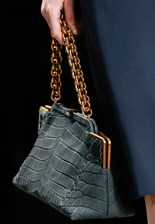 Bottega Veneta Crocodile Frame Bag with Chain Strap