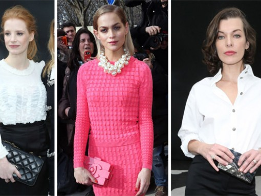 Celebrities carrying Chanel at the Chanel Fall 2013 show in Paris