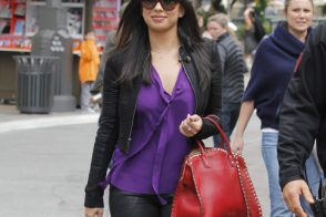 Cheryl Burke carries a red Valentino Rockstud Leather Tote at The Grove in LA (2)